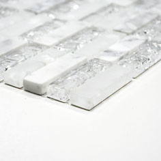Mosaico Marmo Vetro 15/50mm Brick Broken White