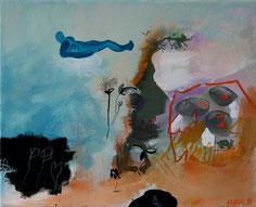 """""""Il dort sur un nuage"""" Acrylique sur toile Dim 22cmx27cm"""