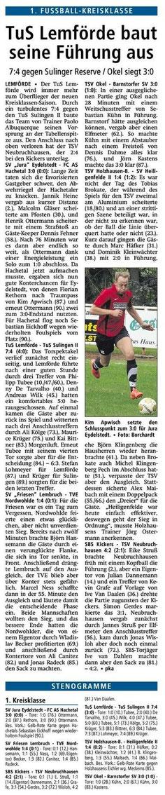 Quelle Diepholzer Kreiszeitung vom 21.10.2013 Punktspiel TSV Okel - Barnstorfer SV 3 : 0
