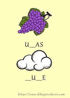 dos palabras para completar uvas y nube