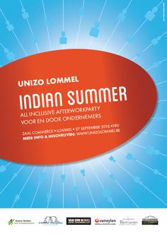Dirk Van Bun Communicatie & Vormgeving - Grafische vormgeving - Grafisch ontwerp - reclame - publiciteit - Grafisch ontwerp - Lommel - Affiche - Unizo - Indian Summer
