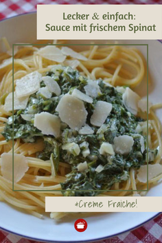 Einfache #Soße aus frischem #spinat  und Creme Fraiche #schnellerezepte #crèmefraîche