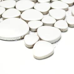 mosaico ceramica a gocce bianco lucido