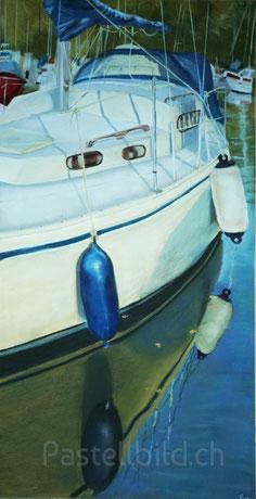Boot, Segelboot, pastell, Leissigen, Thea Herzig