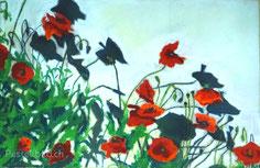 Mohnblumen, Blumen, rote Blumen, Softpastell, pastelpainting, Thea Herzig