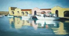 Hafen, Meer, Boote, pastell, kunst, Thea Herzig