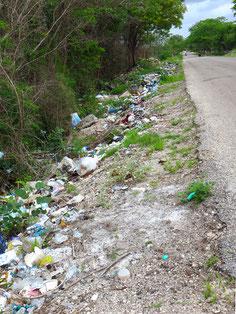 Vor und nach den Dörfern viel stinkender Müll an der Strasse. Ja, diese mexikanischen Ferkel . . .