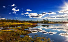 "Bild: lake reflections in autumn on the Dalton Highway, Alaska, ""autumn reflections on Dalton""; www.2u-pictureworld.de"