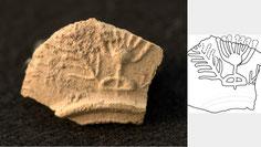 ancient oil lamp menorah fragment, Roman period menorah, shikhin, lower Galilee, Bar Kokhba Revolt