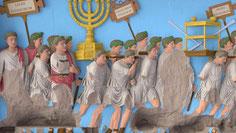 Ancient menorah, Arch of Titus Rome full color, menorah reconstruct, Haaretz
