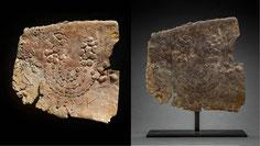 Ancient lead menorah fragment, roman period, sarcophagus, Jerusalem, Israel, golden lampstand