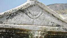 Ancient Menorah, Sarcophagus, marble, lid, Jewish, faint Greek inscription, tomb