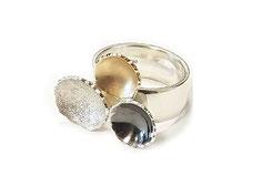 Zilveren met gouden ring kommetjes