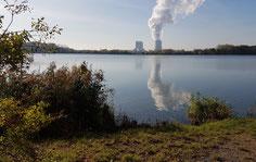 Blick auf das Kraftwerk Böhlen.