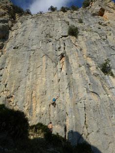 Klettern, Climbing, El Chorro, Spain, Andalusia, Sektor, Escalera Arabe, Route Engendro Caneri
