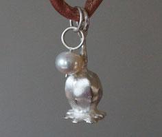 Mohnblüte Schmuckanhänger Silber massiv mit Perle