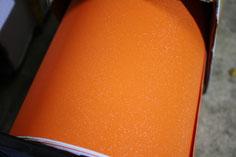 キラキラ入りのマットオレンジ