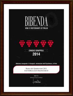 Bibenda 2014: Quattro grappoli al Ronco dei Quattroventi