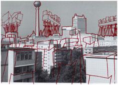Erik Göngrich, Alexanderplatz, 2007, sérigraphie, collection artothèque du musée des beaux-arts de Brest métropole.