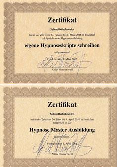 Meine Hypnosemaster-Zertifikate