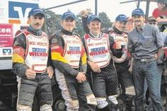 Freude über die Titelverteidigung (von links): Bernd Diener, Stephan Katt, Gerd Riss, Matthias Kröger, Teamchef Joachim Ohmer.