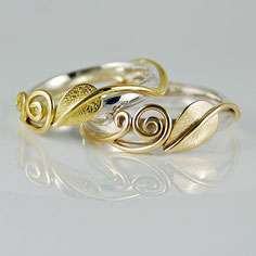 Leaf & Two Tendrils Rings Sterling Silver with 9ct and 18ct Yellow Gold