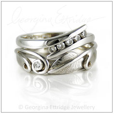 Leaf & Two Tendrils Ring with usual shaped engagement ring