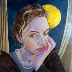 Selbstportrait, Öl auf Ölmalpapier