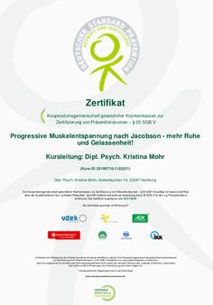 Prävention Zertifikat Progressive Muskelentspannung Mohr Trainings Hamburg