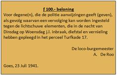 Een door A. de Roo uitgegeven beloning voor de daders van de overval in het Unie winkel