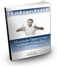 """ebook Ratgeber """"15 wertvolle Tipps für den inhaltlichen Aufbau Ihrer Homepage"""""""