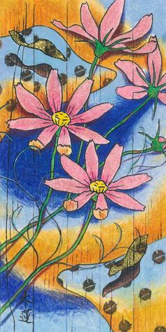 「見沼の朝 秋、秋桜」日本画 200x100mm