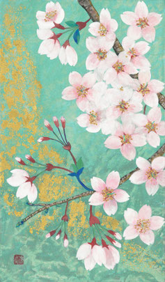 桜~花巡り~ 紙本着彩・金箔 M3