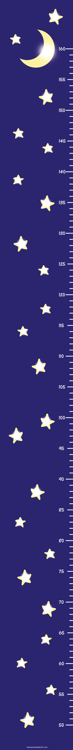 schmale selbstklebende Messlatte für Türrahmen - blau mit Mond Sternchen