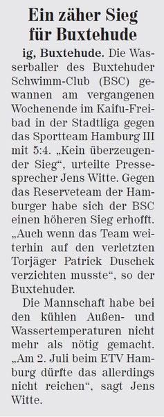 Wasserball. Ein zäher Sieg für Buxtehude. Neue Buxtehuder Wochenblatt vom 25.06.2014