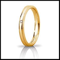 Fedi Nuziali Unoaerre Orion Slim oro giallo con Diamante