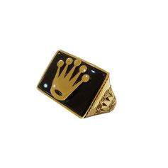 Anello con corona in oro giallo 18kt e onice gr. 9