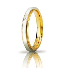 Fede Nuziale UNOAERRE Cassiopea Slim 3mm Oro giallo bianco Brillanti Promesse  Referenza 50AFC282
