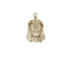 Ciondolo pendente Volto di Cristo Gesù in oro giallo con pietre bianche  GR. 31.20