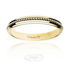 anello nuziale classico oro giallo e bianco