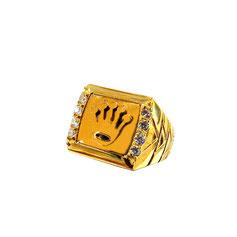 Anello con corona in oro giallo 18kt e zirconi gr. 9.10