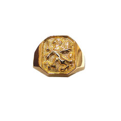 Anello stemma araldico grifone in oro giallo gr. 9.10