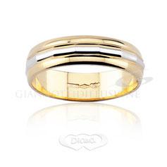 anello oro bianco e bordi in oro giallo