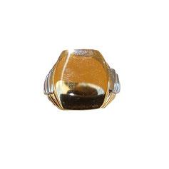 Anello uomo in oro giallo e bianco 18kt a scudo  gr. 12.40