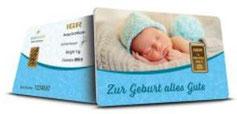 Motivbarren Geschenkbarren Geburt Junge mit einem Goldbarren