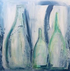 Flaschen Blau, Acryl auf Leinwand, JULIA! Neulinger-Kahl