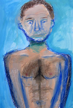Mai 2014 Aaron (10 Jahre) »Schmerzensmann« Ölfarbe, Ölpastellkreide 63 x 44 cm
