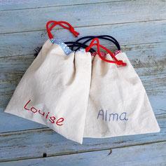 petits sac à coulisse en lin personnalisables