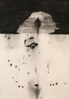 The tear, 2017. Houtskool op papier, 100x70cm.