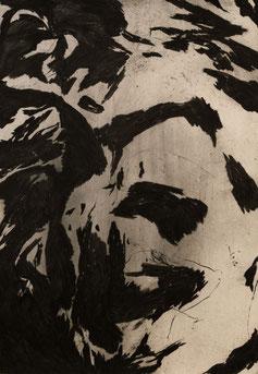 Shattered mountains, 2017. Houtskool op papier, 100x70cm.